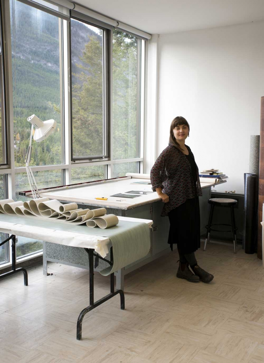 One of the Banff Centre's current artists-in-residence, Calgary-based artist Svea Ferguson in her studio at The Banff Centre.