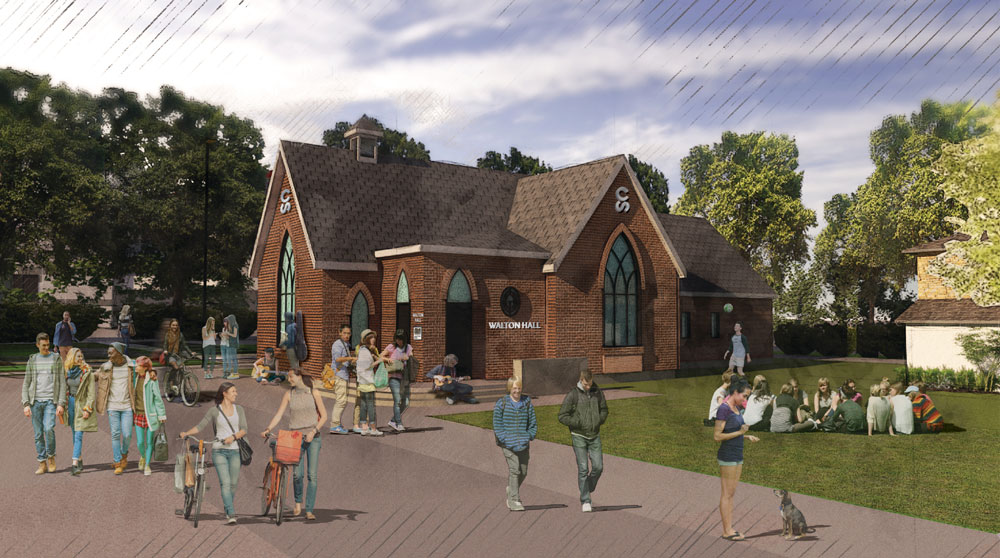 Walton Hall, a replica of the former Westbourne Baptist Church, will open on the Stampede's Youth Campus in late 2018. It will include fabric from the original building.
