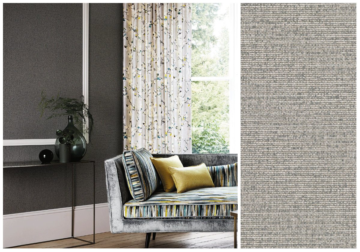 Edie by Romo hessian-stylevinyl wallpaper from The Heather Company.