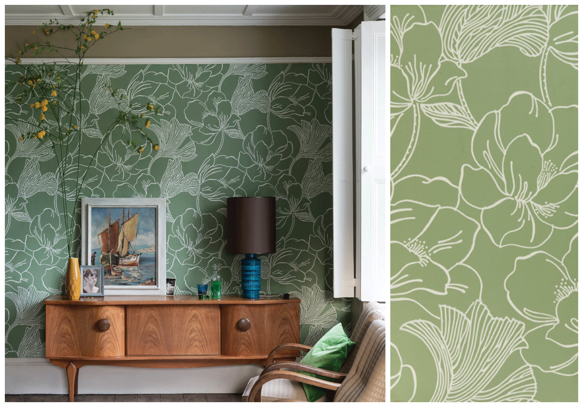 Helleborus by Farrow & Ball wallpaper from Maria Tomás.