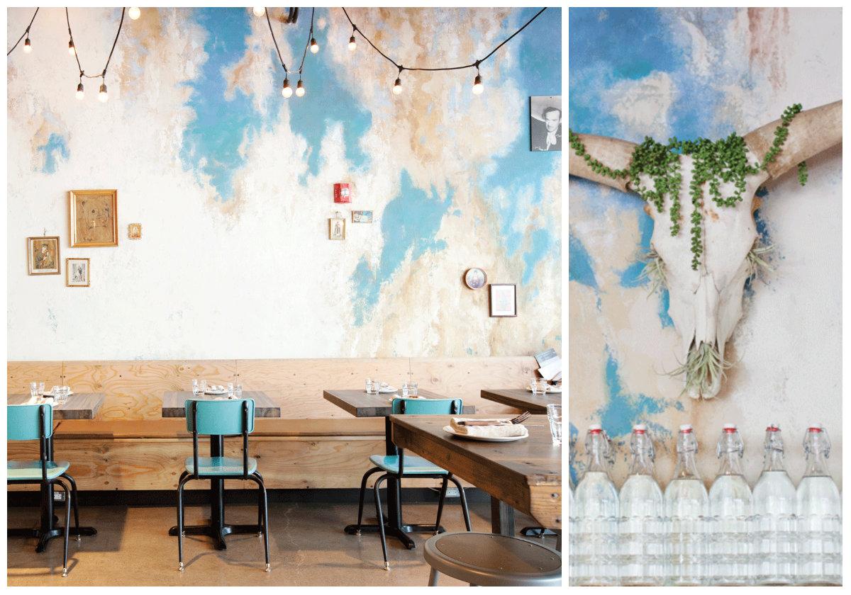 Interiors to Inspire wall treatment designed by Amanda Hamilton at Native Tongues Taqueria.