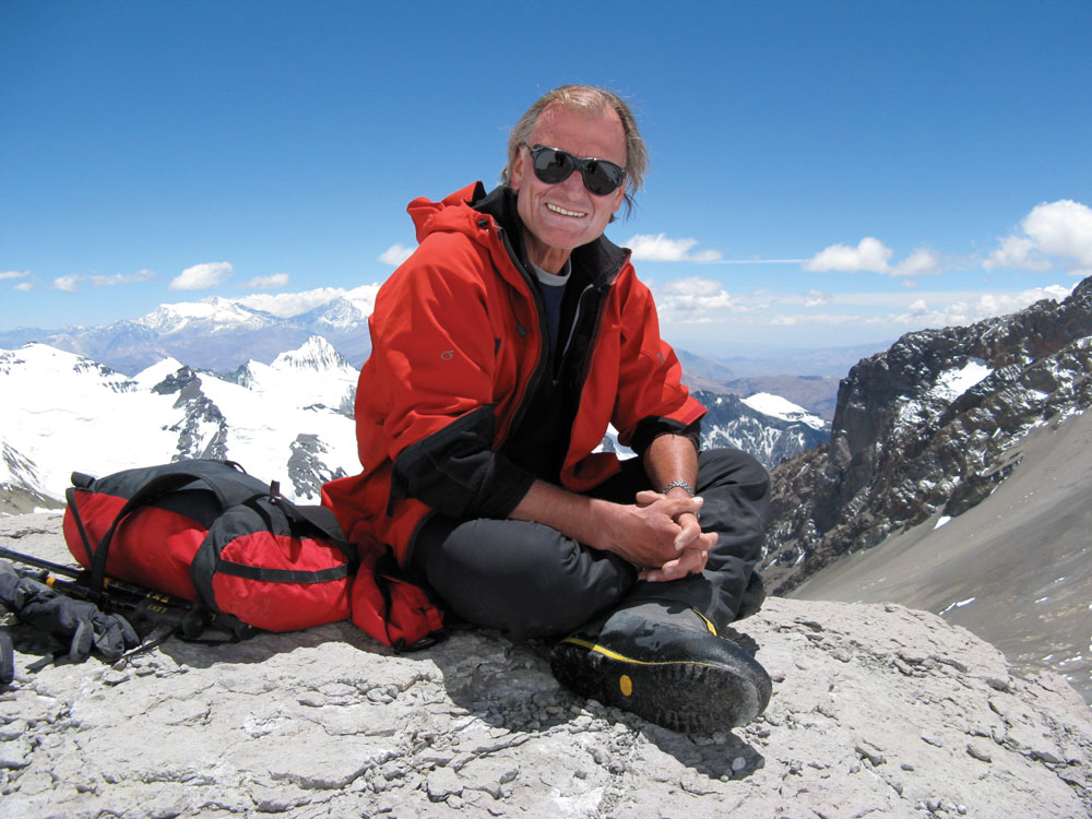 Laurie Skreslet on Nevado Aconcagua. At 23,000 feet, it is the highest mountain in the Western hemisphere. The picture was taken at 19,200 feet at camp 2.
