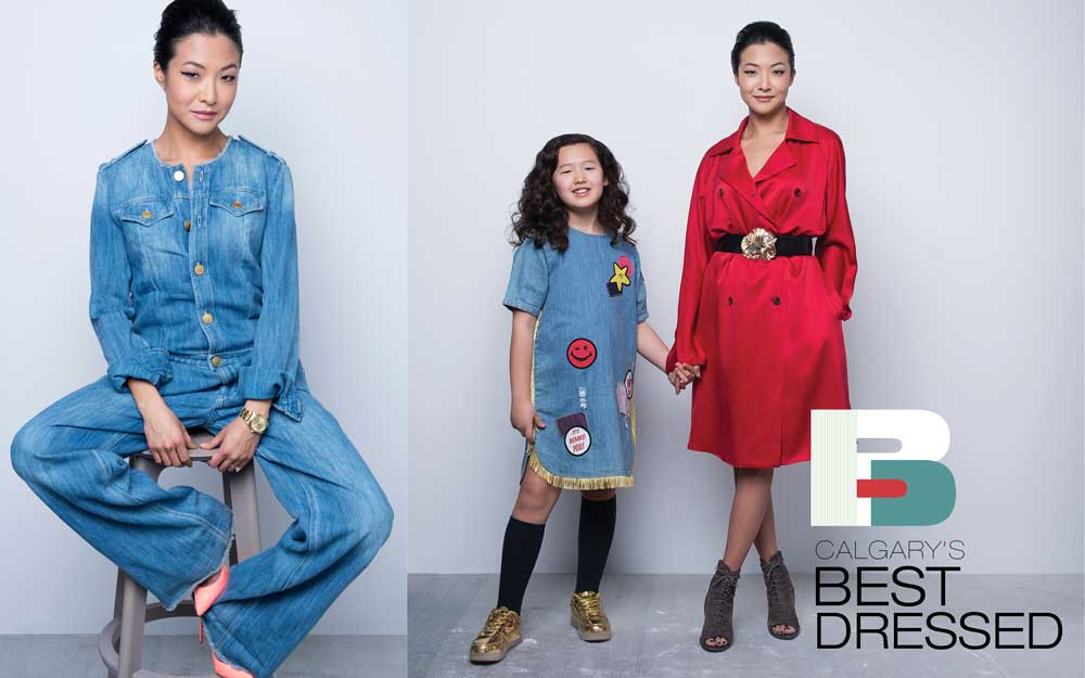 LEFT: Denim jumpsuit by Isabel Marant Étoile; watch by Rolex; shoes by Christian Louboutin.RIGHT: Trench Coat by The Row; belt by Blumarine; pumps by Saint Laurent.(On Scarlett) Dress by Stella McCartney Kids; shoes were purchased while travelling.