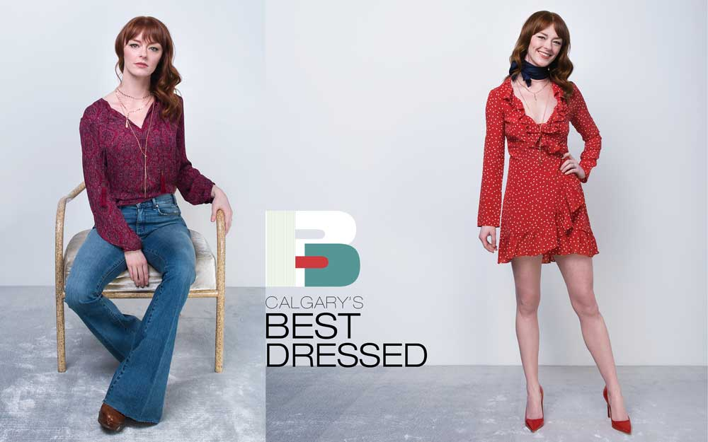 LEFT: Joie blouse from Coco and Violet; jeans by McGuire; platform clogs by Lauren Ralph Lauren; jewellery from various retailers, including Hudson's Bay, CoutuKitsch, Nordstrom, and pieces purchased in Kazakhstan.RIGHT: Dress by Réalisation; neck tie from Holt Renfrew; Dior shoes from Holt Renfrew; jewellery from Hudson's Bay and Nordstrom.