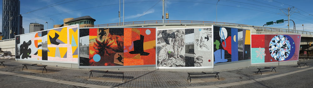 THESAMEWAYBETTER/READER, 2012, Venetian and Mexican glass smalti, granite and marble tesserae mosaic, 13' high x 110' long (4 m x 33.5 m) on five articulated panels.Commissioned by the Calgary Municipal Land Corporation; produced in collaboration with Franz Mayer of Munich (Germany).