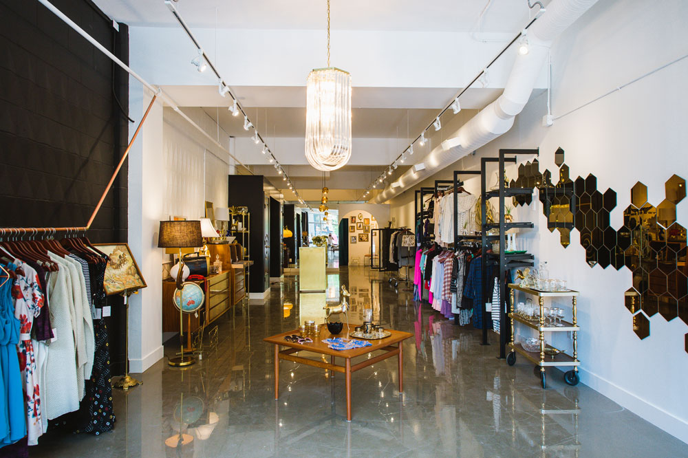 Inside Bamboo Ballroom. Clothing and accessories line the store's perimeter, and vintage items from Bex Vintage can be found throughout the store.