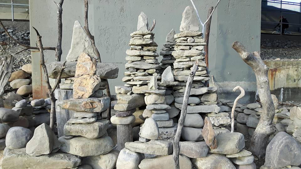 A closer look at the rock towers that make up Materi's piece Beach Fort.