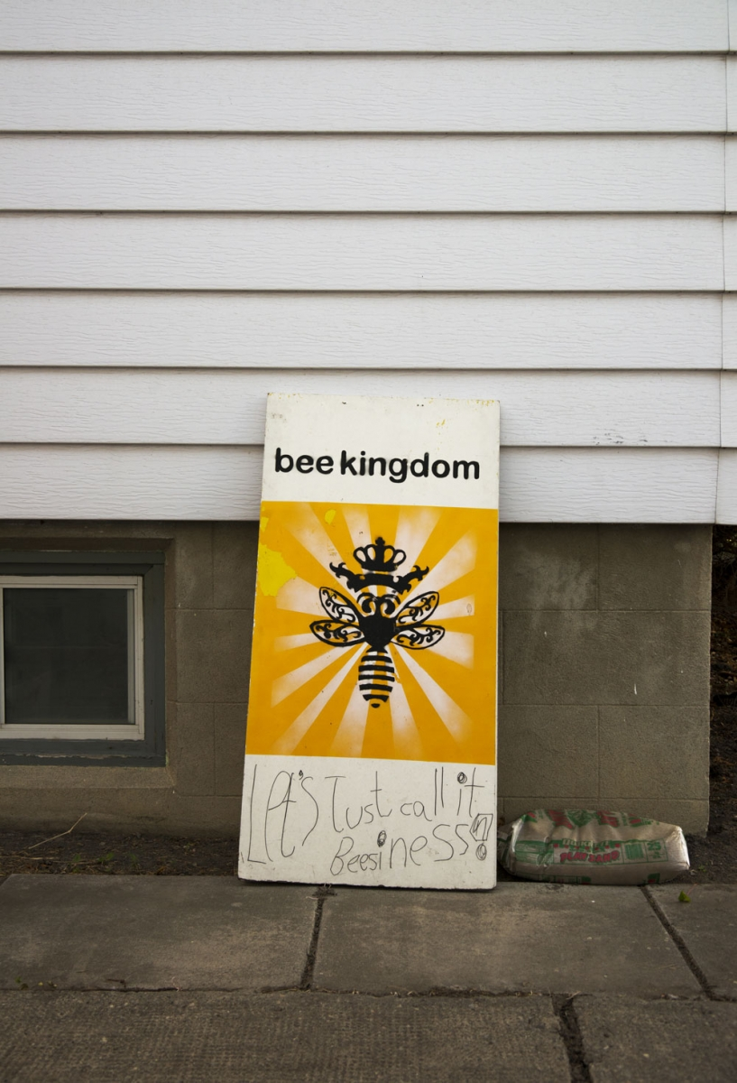 The Bee Kingdom studio is located in a converted garage in Mount Pleasant. This witty slogan contributed by a friend's daughter.