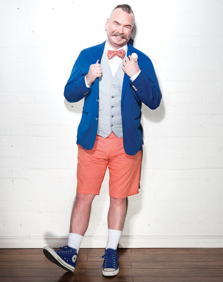 Blazer from Scotch & Soda; Nicole Miller bow tie and Converse shoes, both from Winners; shirt from Topman; vest from Banana Republic; shorts from Club Monaco.