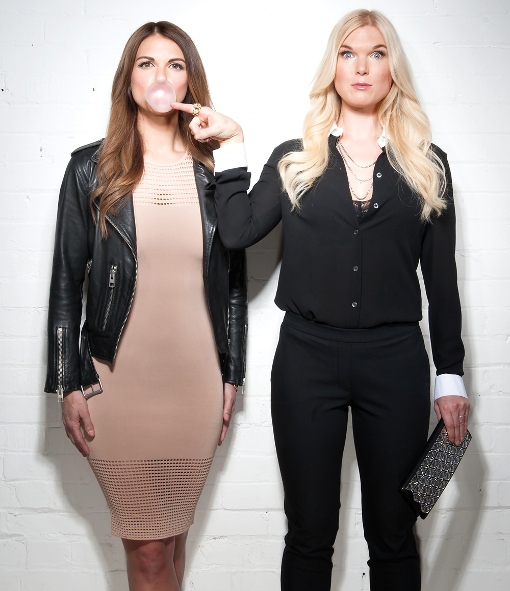 (On Lana, left) Torn by Ronny Kobo dress; leather jacket from AllSaints; Rolex watch. (On Sheenah, right) Theory pants, David Yurman necklace and Gucci clutch, all from Holt Renfrew; top and gold ring on right hand, both from Michael Kors; necklaces and ring on left hand, private collection.