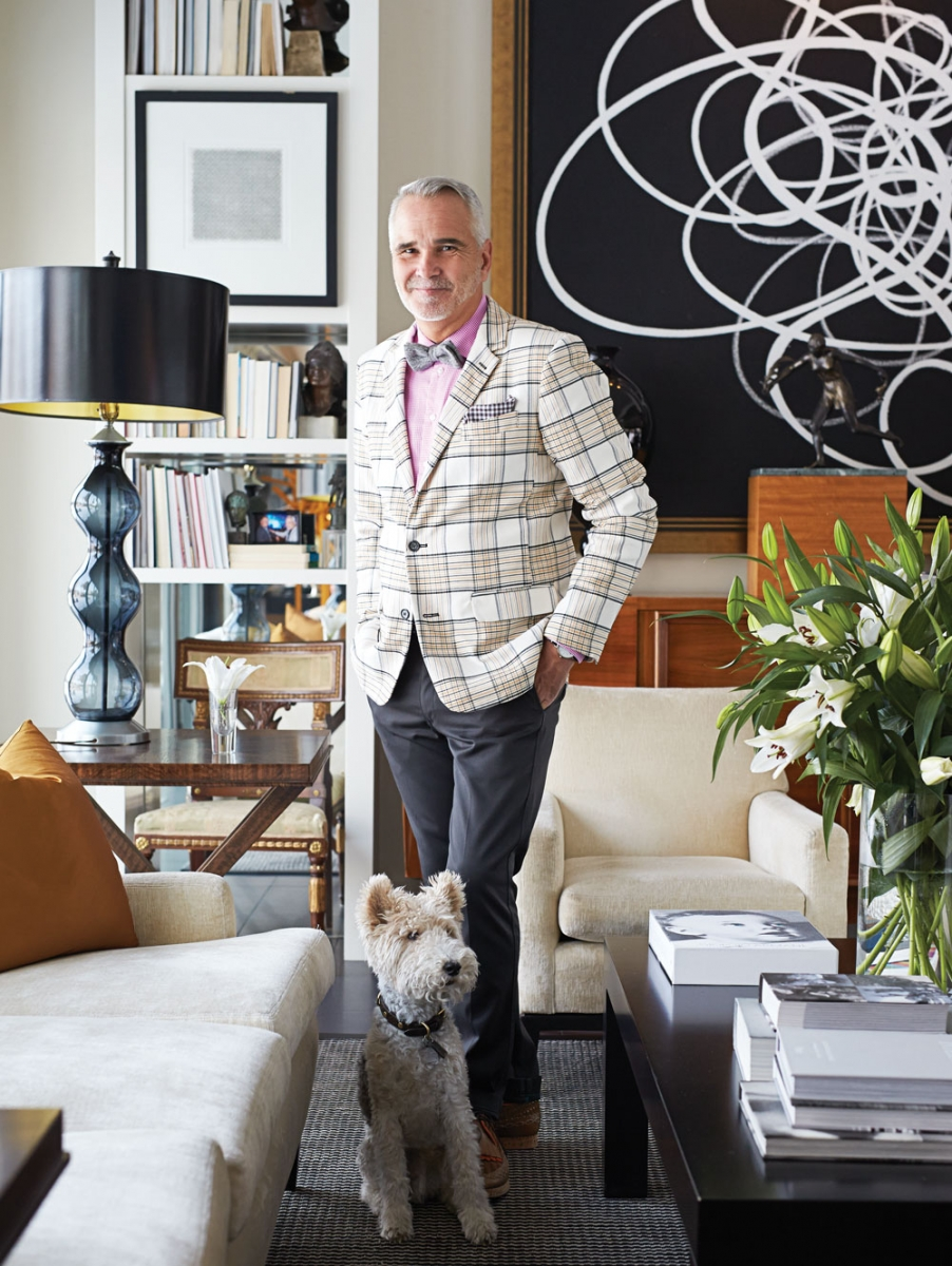 Mr. Turk jacket; Eton shirt and pocket square, both from Harry Rosen; Levi's pants; Burberry shoes. Paul Lavoie is pictured with his wire fox terrier, Edward.
