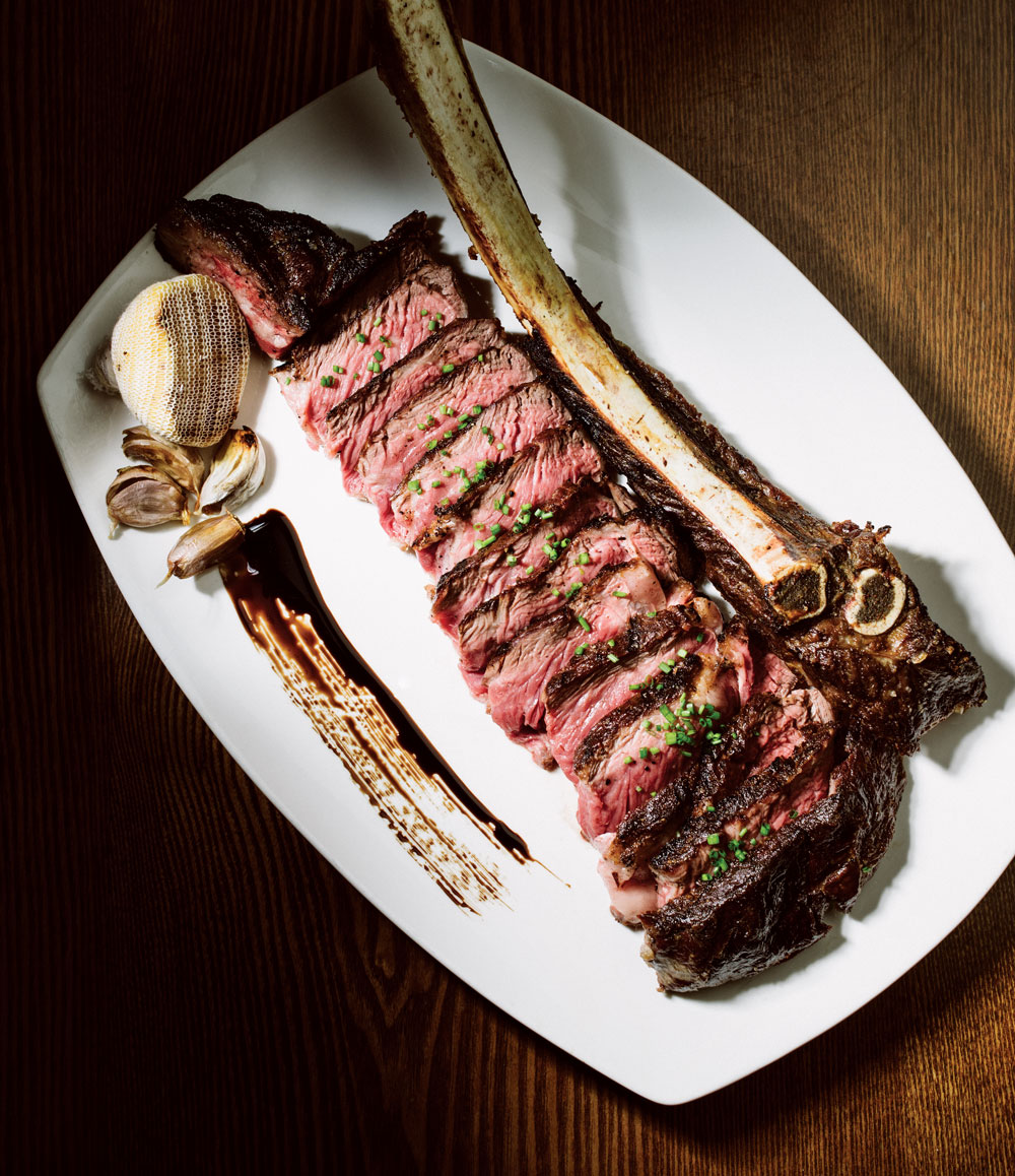 Tomahawk steak, 36-oz. bone-in, 40-day dry aged AAA Alberta beef tomahawk ribeye.