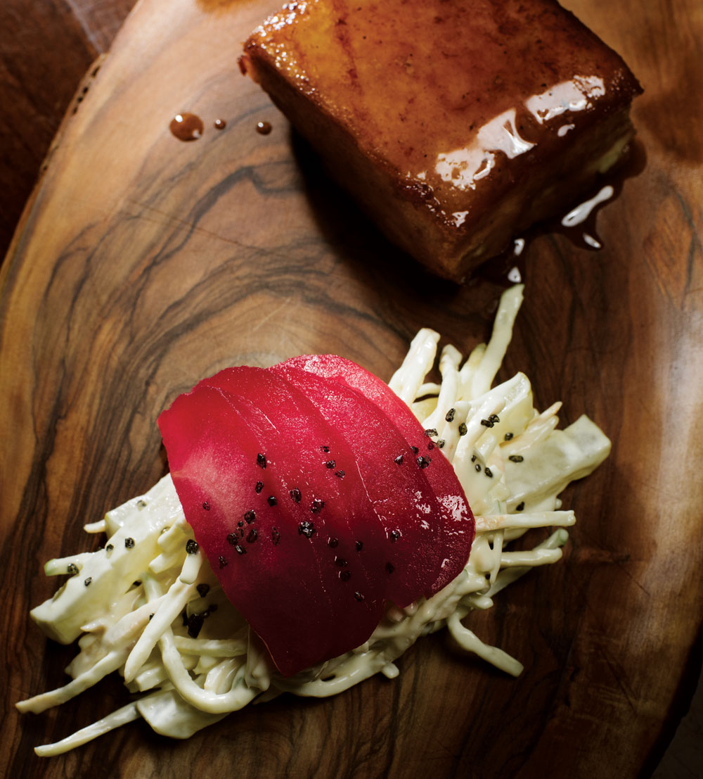 Lacquered pork belly with celeriac remoulade and poached and pickled apple.