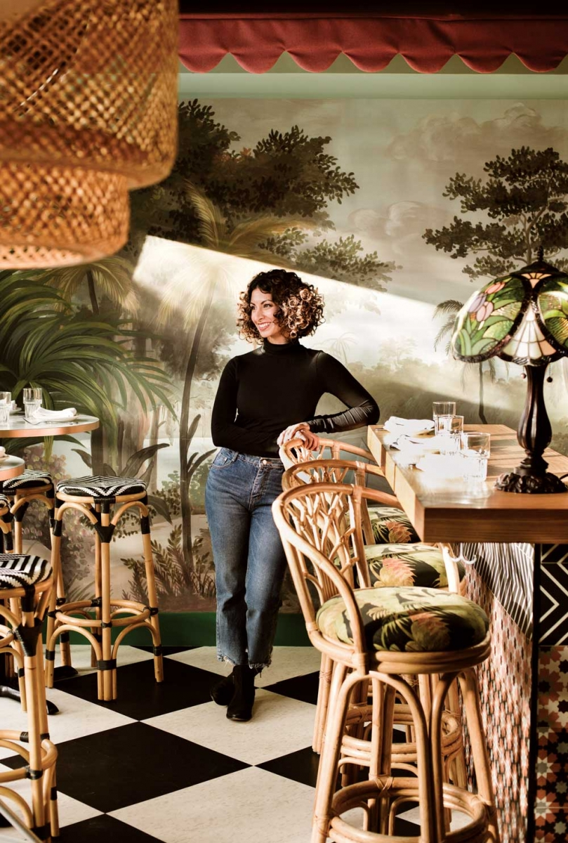 Artist and co-owner Maya Gohill designed the interior at Calcutta Cricket Club.