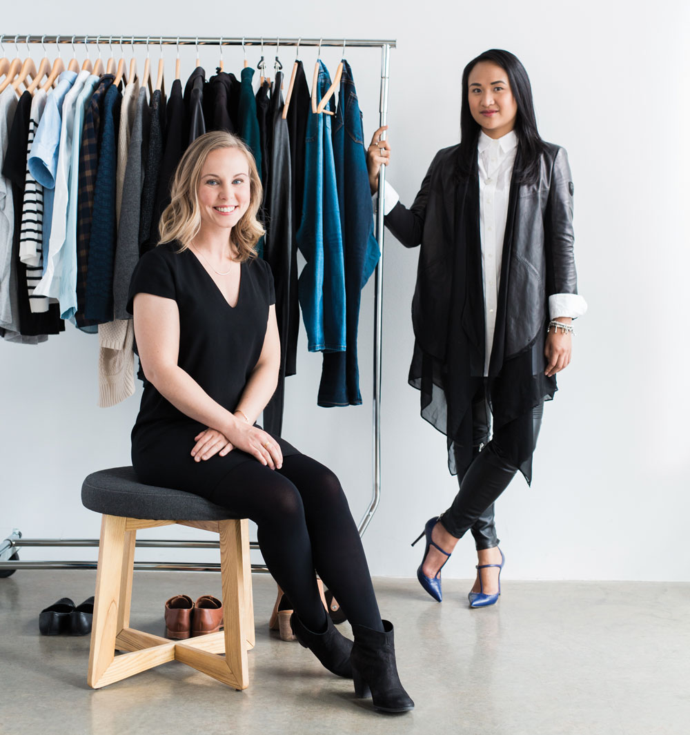 Minimal wardrobe enthusiast Chelsea Watson (left) and Calgary-based stylist Hazel Anderson.