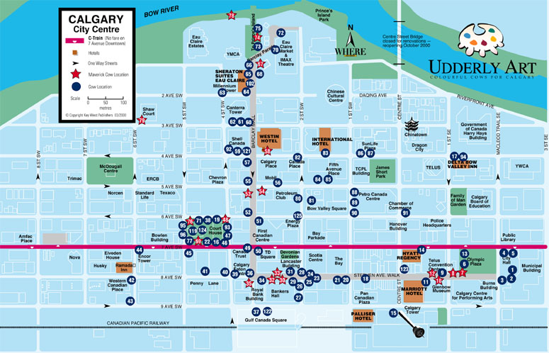 A Map of the Udderly Art cow locations in downtown Calgary during the event.