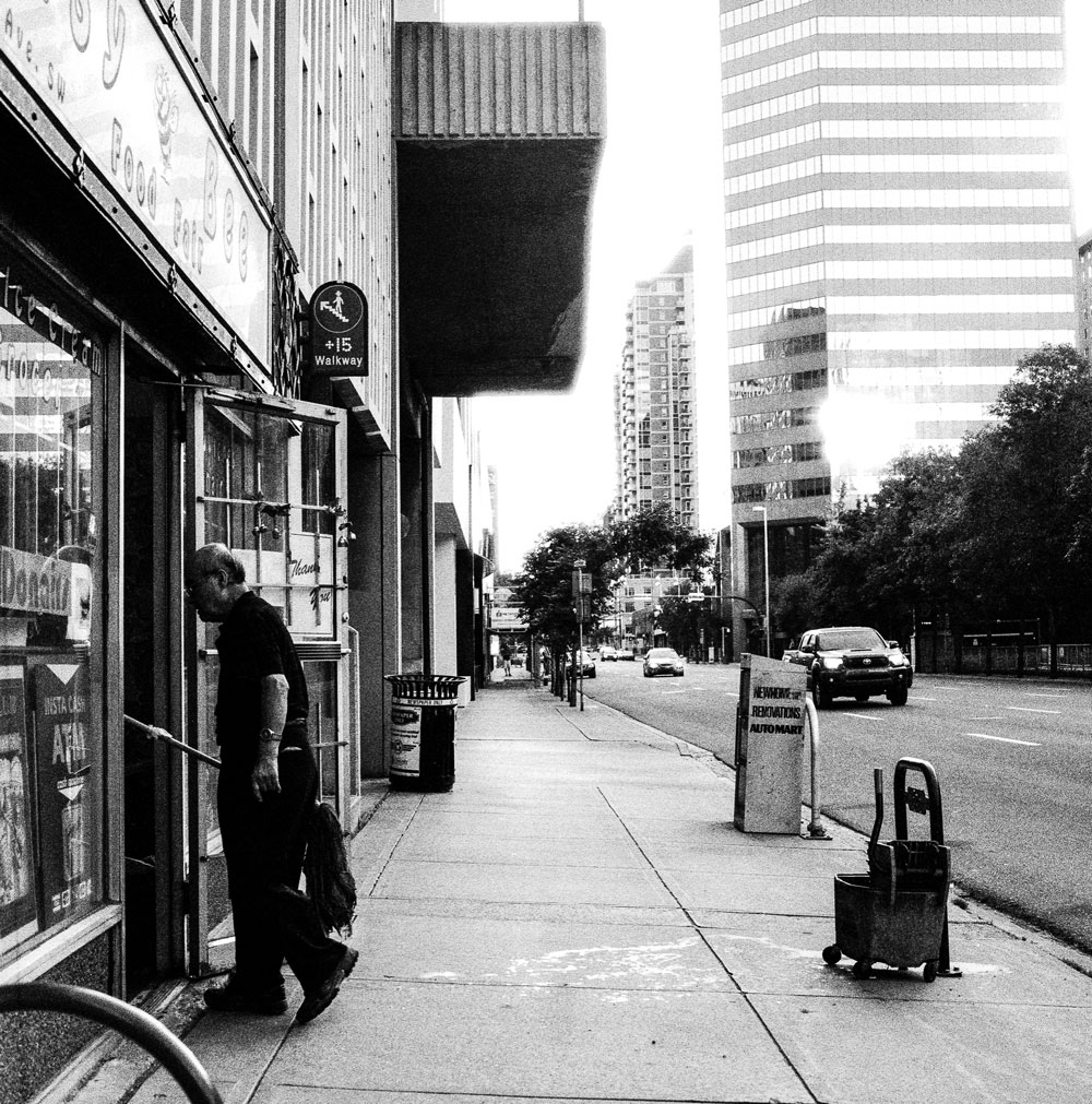 Chris Tait snapped this shot on the streets of Calgary using high-sensitivity black-and-white film.