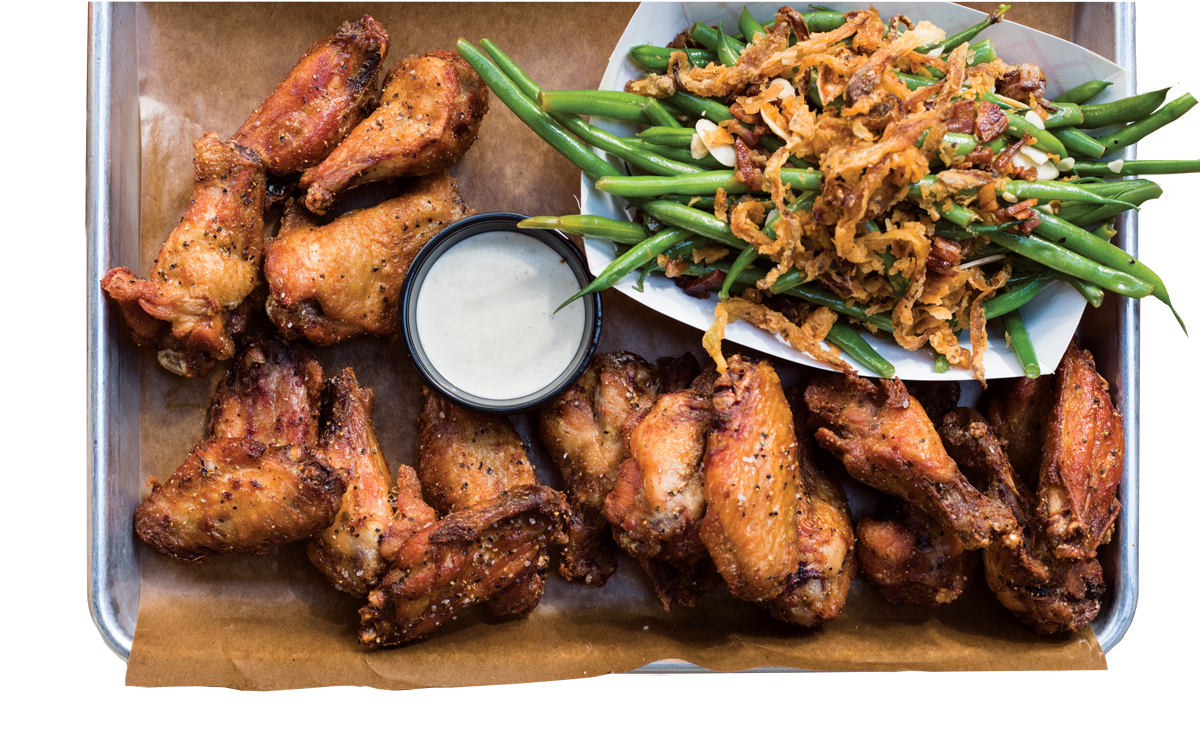 Hayden Block's smoked chicken wings with a side of green beans.