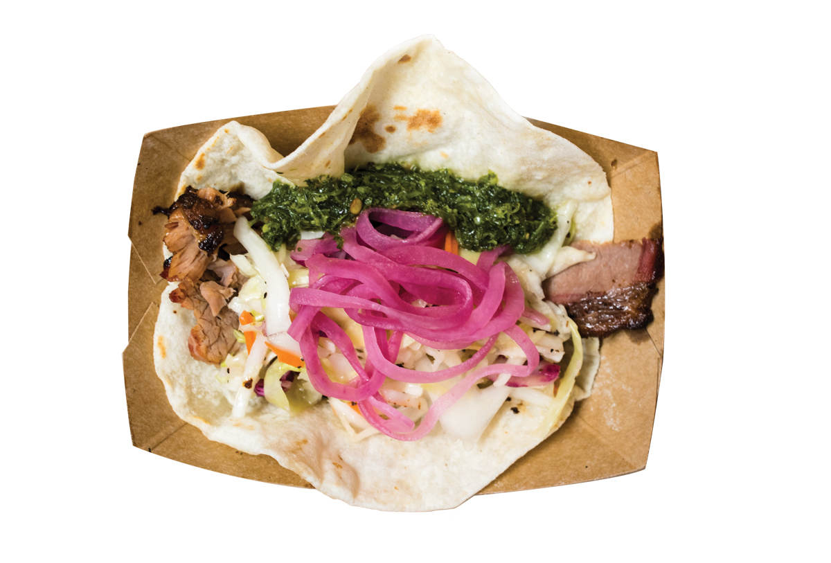 House-smoked brisket tacos with chimichurri sauce from Paddy's Barbecue & Brewery.