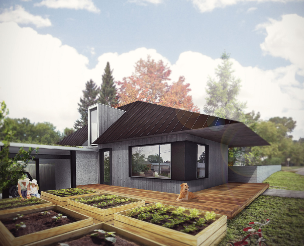 This laneway home was designed with a corner lot in mind. This view shows the front