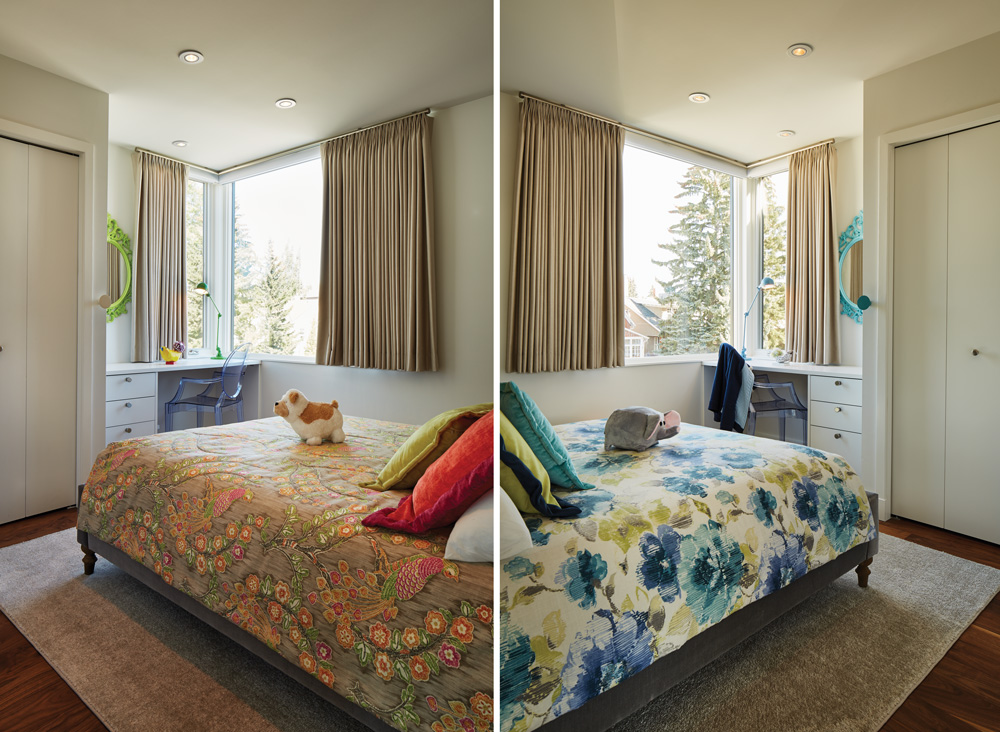 Preteen twins Agatha and Sophia infused their own personal style into their complementary spaces by painting the same IKEA mirror in vibrant shades of their choice and selecting different bedding colour schemes and styles.