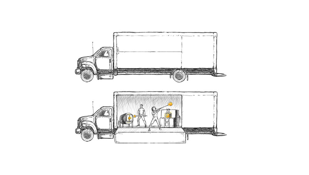 Scholefield's illustration demonstrates how the mobile studio looks and functions.