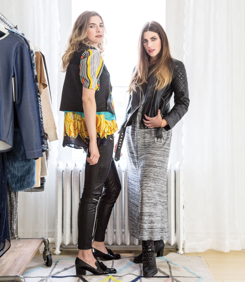 (On Hilary, left) Blouse and vest, both by Dreamboat Lucy; pants from Zara; loafers from Stuart Weitzman.(On Louanna) Caftan by Dreamboat Lucy; leather jacket was custom made in Vietnam; boots from Stuart Weitzman.