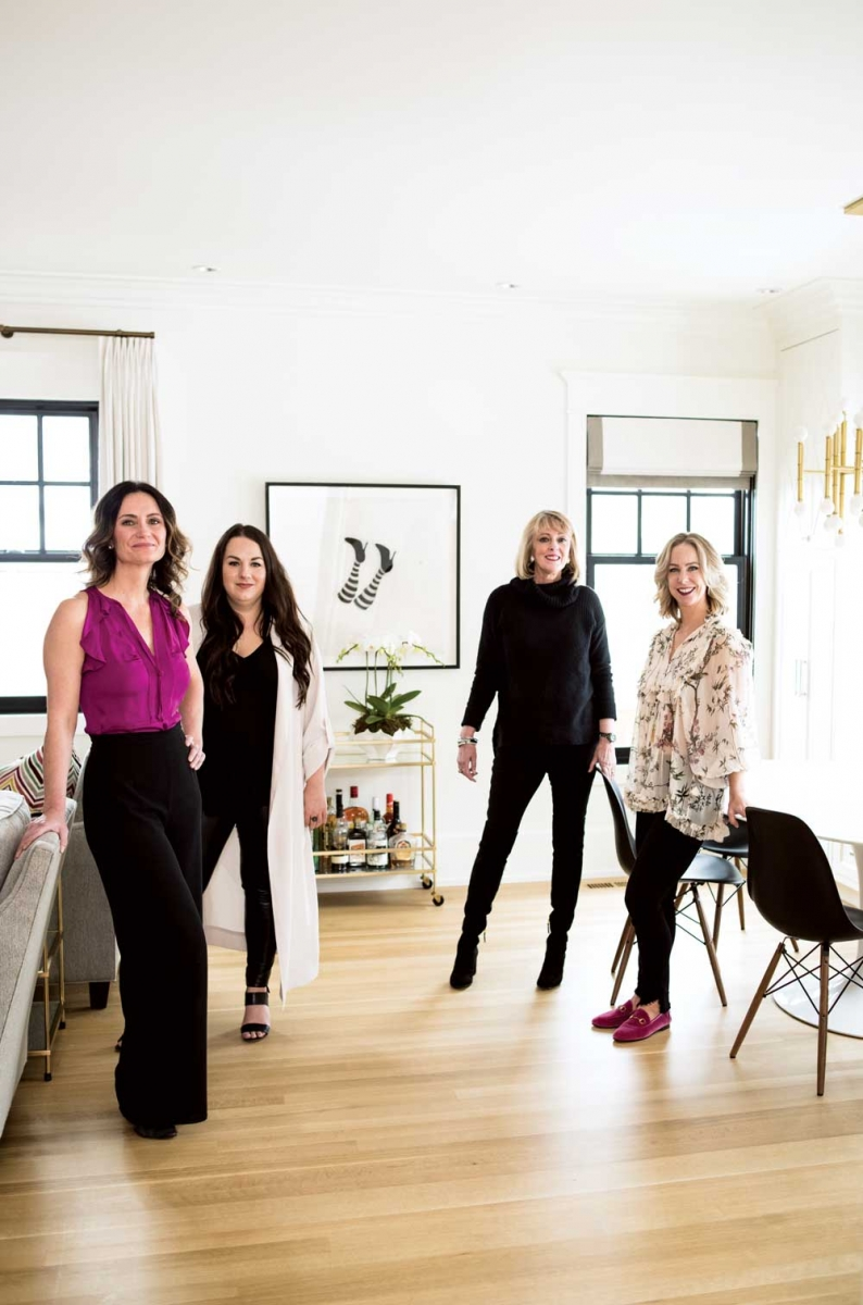 Interior designers Reena Sotropa and Alanna Dunn of Reena Sotropa In House Design Group, architect Suzanne Devonshire Baker with Devonshire Baker Architectural Design and homeowner Jill Carlsen.