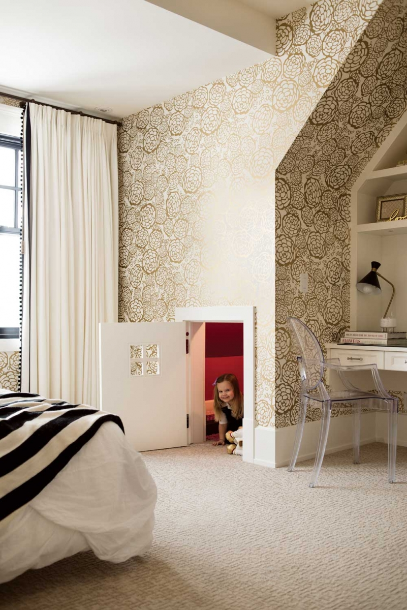 """Petal Pusher"" patterned wallpaper by Hygge & West adds visual pop to Carlsen's daughter's bedroom."