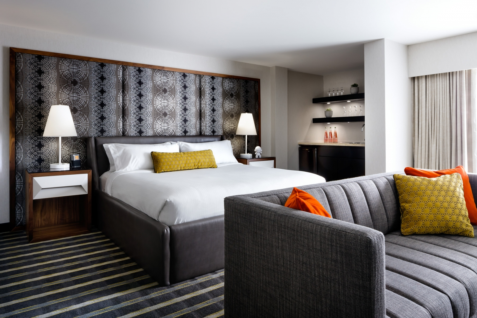 The hotel's guest rooms have been revamped with a cool, clean style that draws attention to quality pieces without distracting from the overall aesthetic.