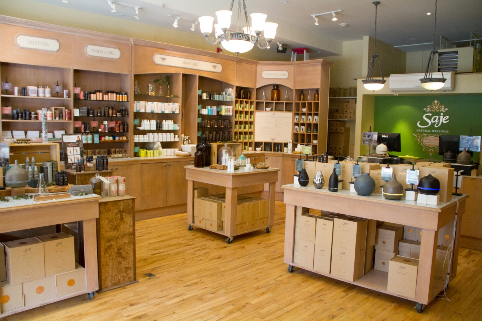 The decor at Saje's Mission location is calming and natural, a perfect backdrop for the extensive selection of 100-per cent natural products.