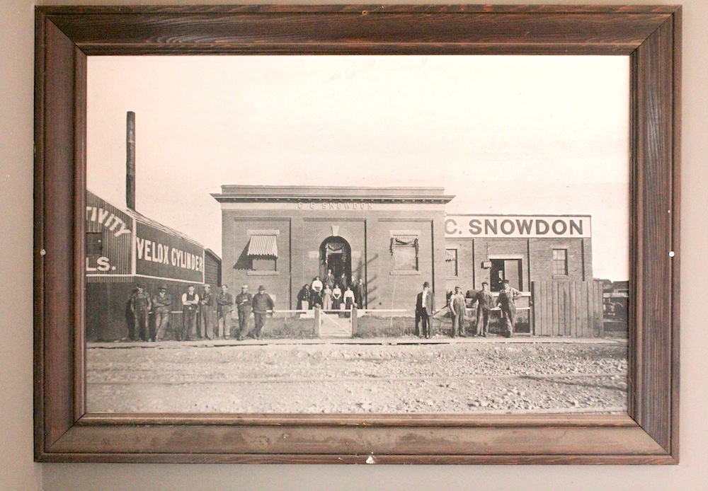A photo of the early days of the building that now hangs in its main entrance.