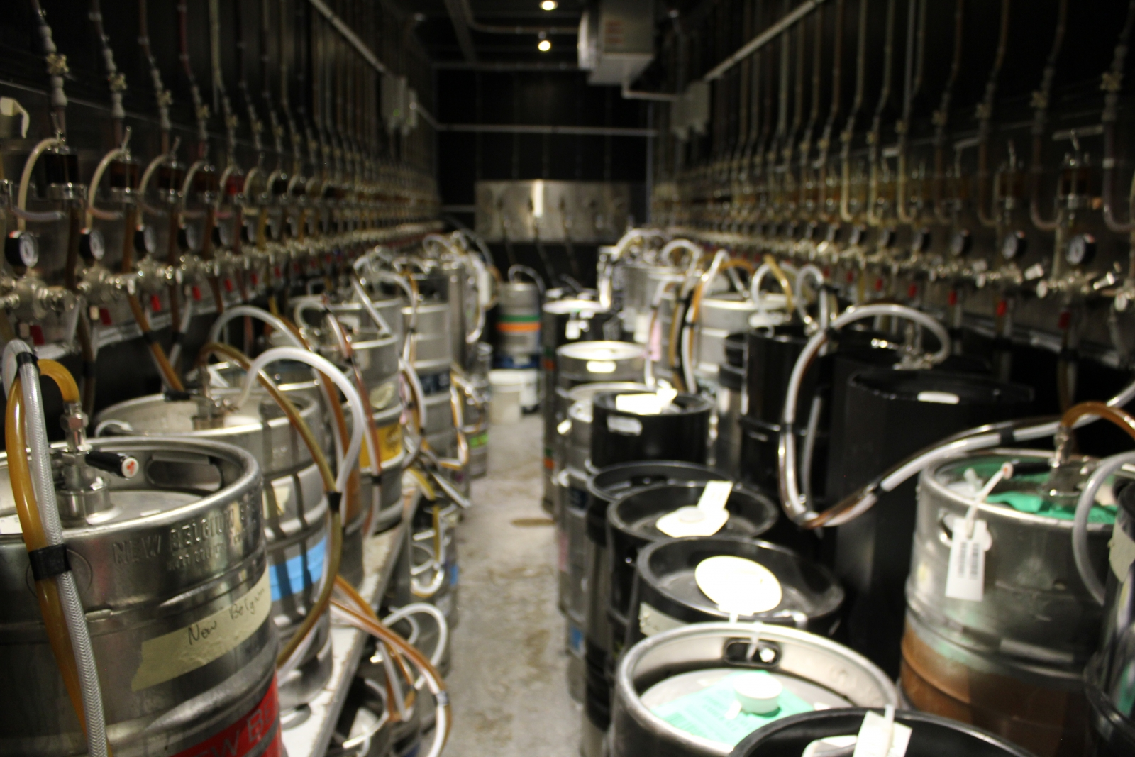 Craft Beer Market's frosty backroom is home to an impressive number of beer kegs, most of which are on tap.