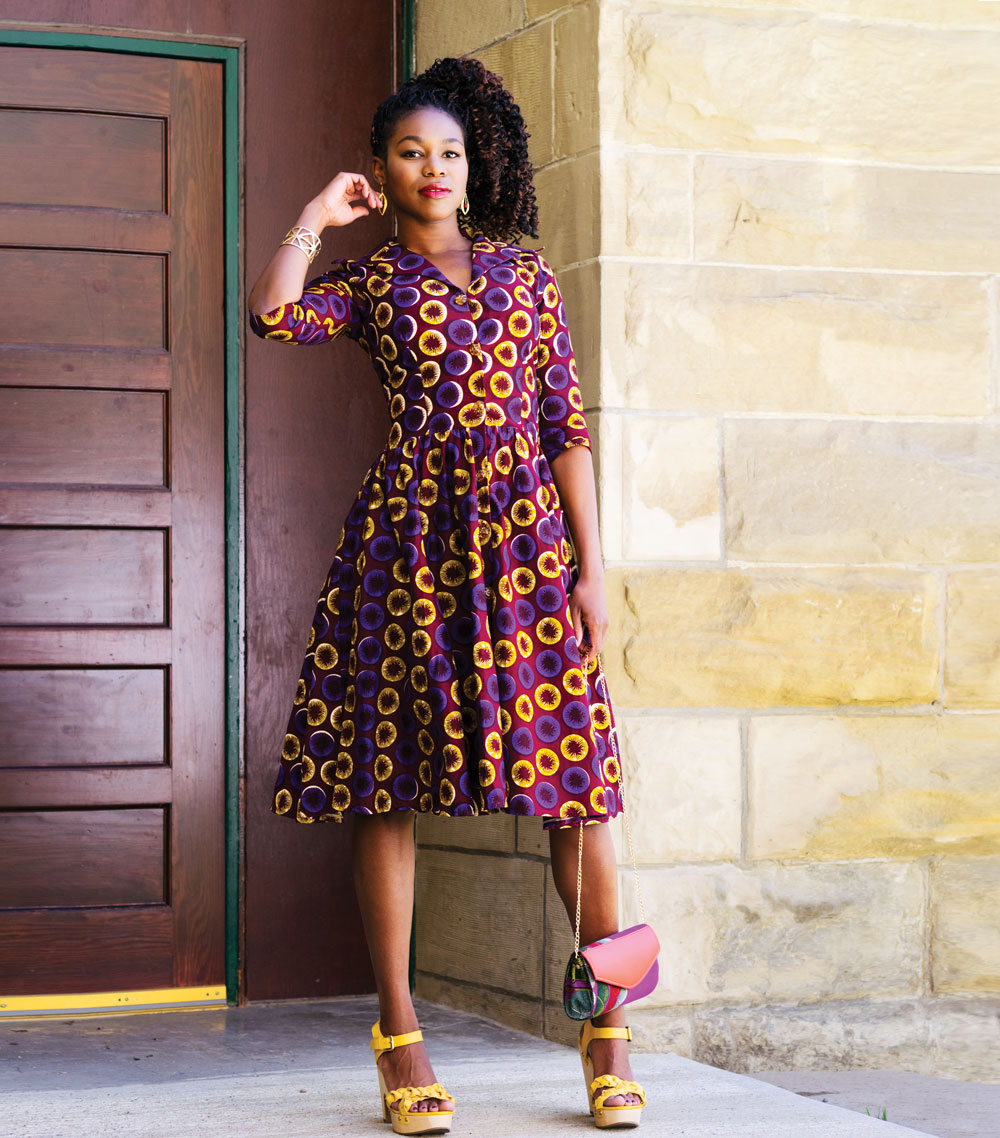 Handmade dress was purchased in Ghana; shoes were a gift; clutch and all jewellery from Alora Boutique.