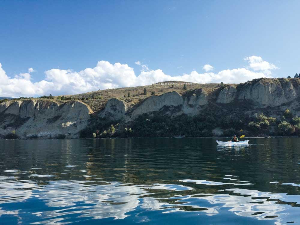 Kayaking on Okanagan Lake Hoodoo Adventures.