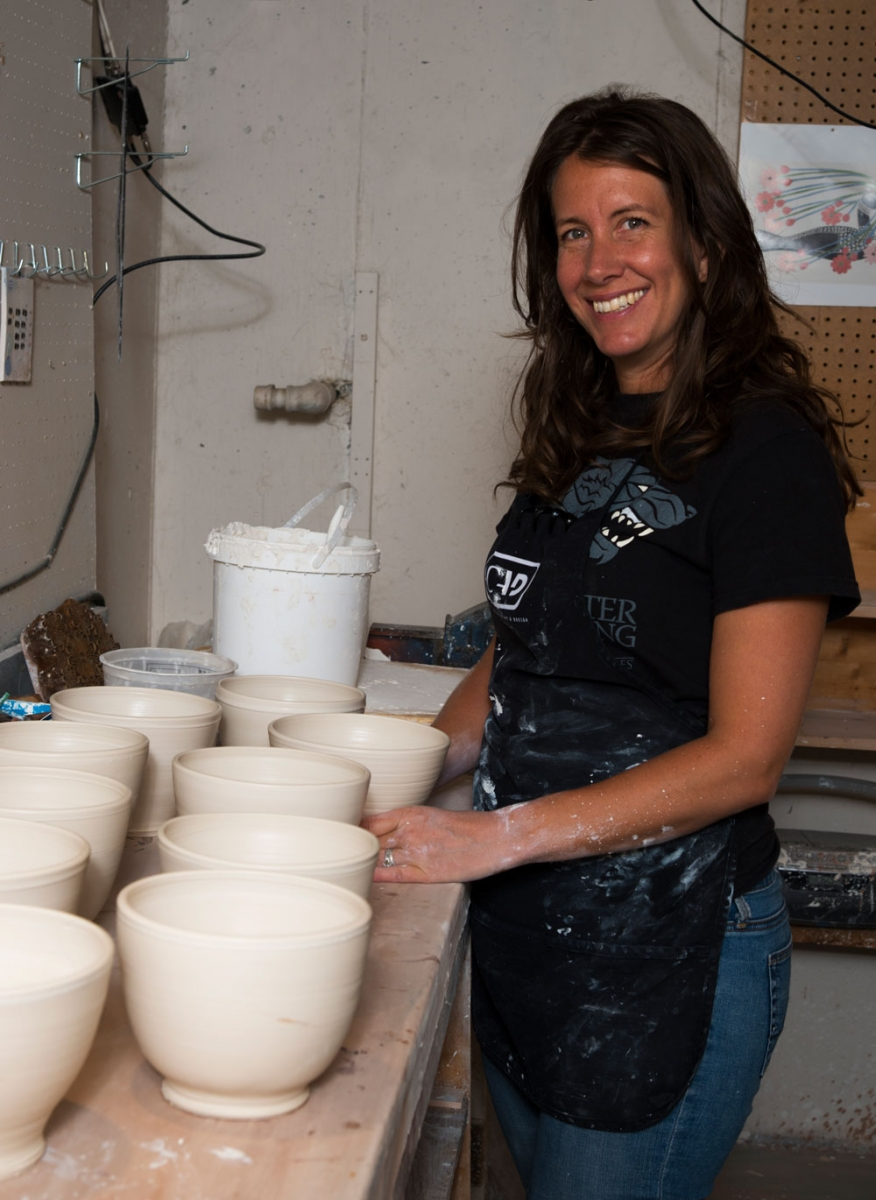 Potter Laura Sharp at her Calgary-based studio.