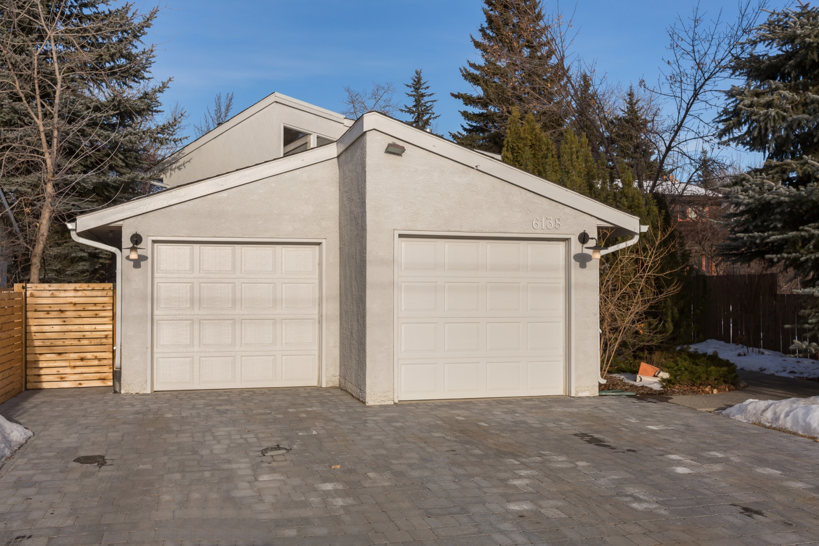 A double-car garage faces the street.
