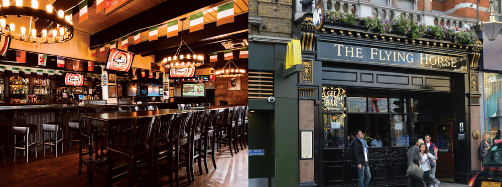 Molly Malone's Irish Pub in Kensington (left) and The Flying Horse.