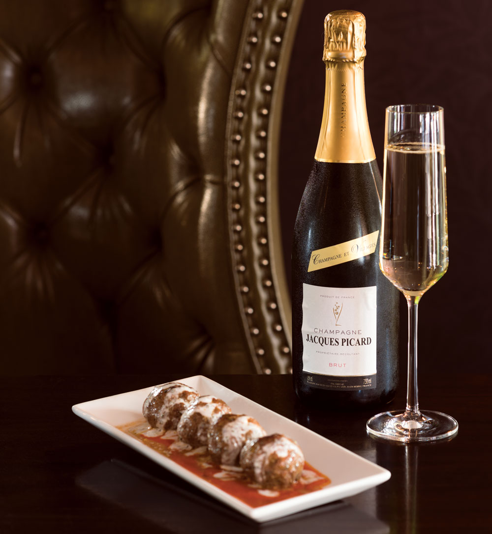 Vin Room: Brut and lamb merguez meatballs.