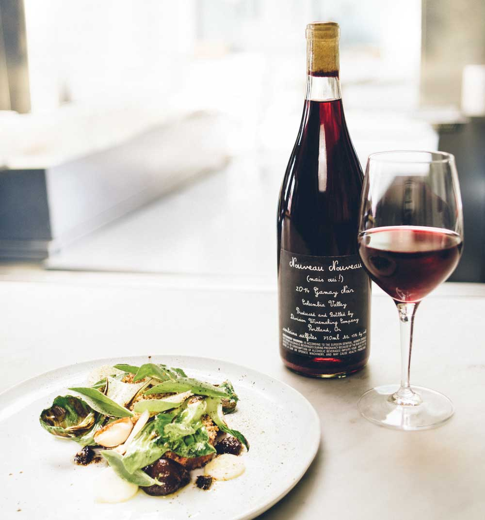 For something light and fun, try pairing gamay with lamb from Model Milk.