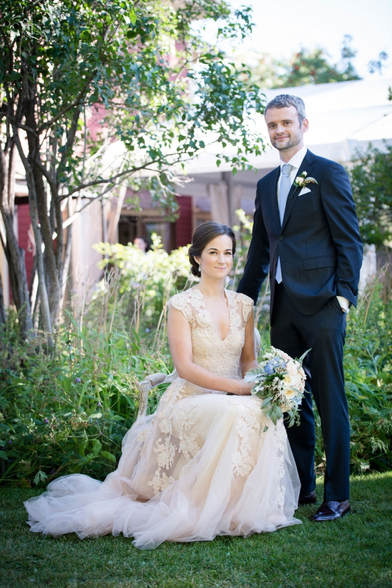 The bride and groom pose for a photo in Rouge's beautiful garden, which borders the Inglewood restaurant.