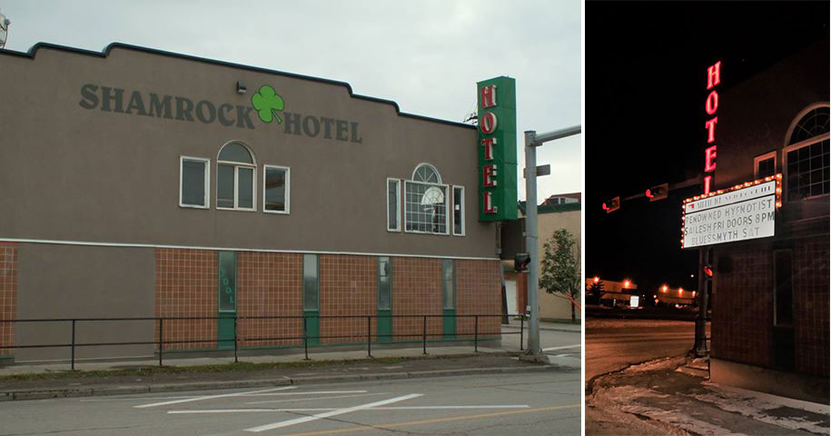 East side of the hotel showing the neon sign, June 2014 (left). Night view showing the neon sign, December 1, 2014 (right).
