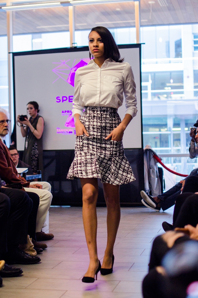 The students offered up their own interpretations on ready-to-wear. This patterned and flared pencil skirt could easily be a part of any young professional's wardrobe.