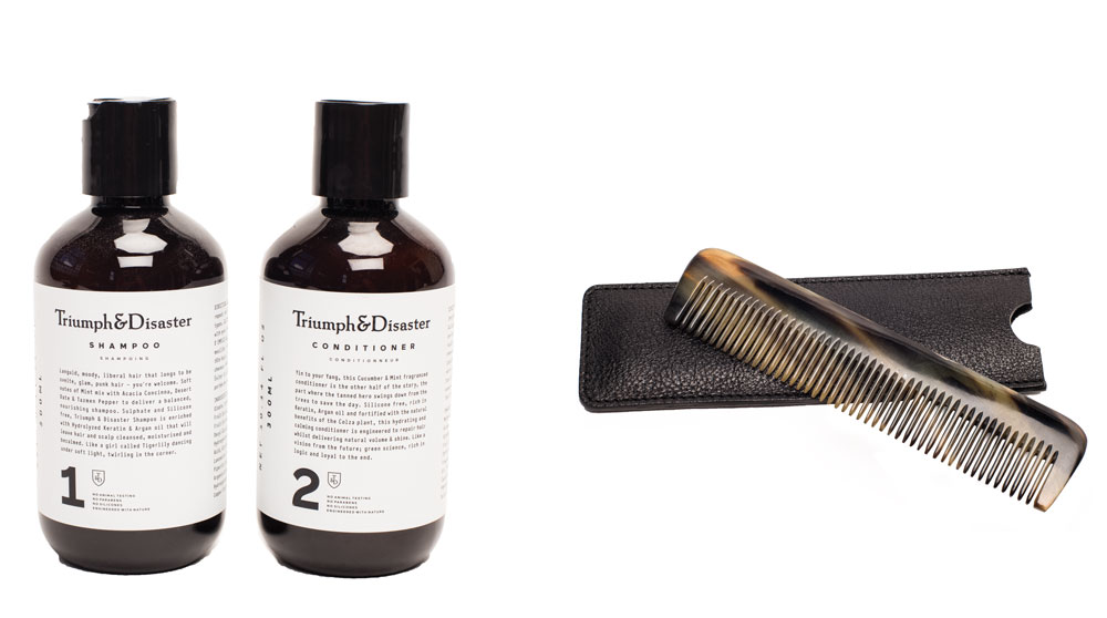 Triumph & Disaster shampoo and conditioner, 7 each, from Johnny's Barber + Shop. Comb, .75, from North American Quality Purveyors.