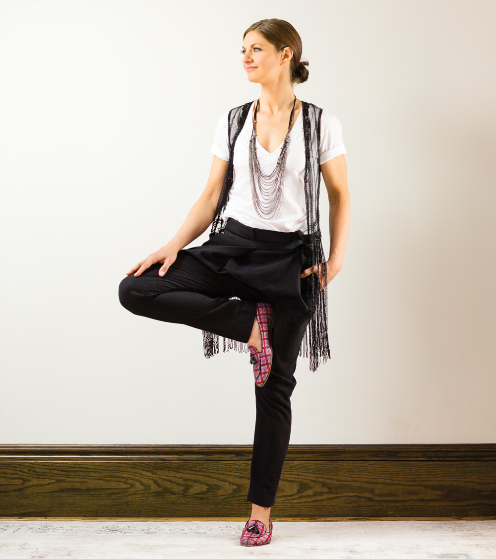 T-shirt from American Apparel; beaded top, private collection; pants, shoes and Goti necklace, all from Paul Hardy Design.