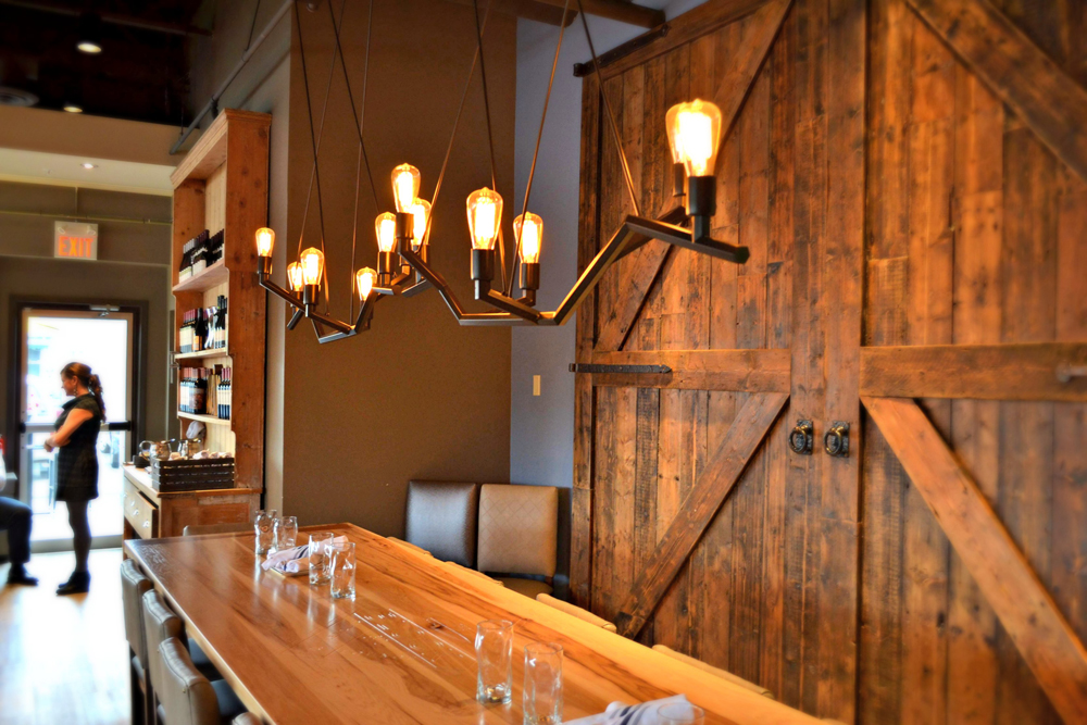 The interior at The Block is tastefully, casually rustic.