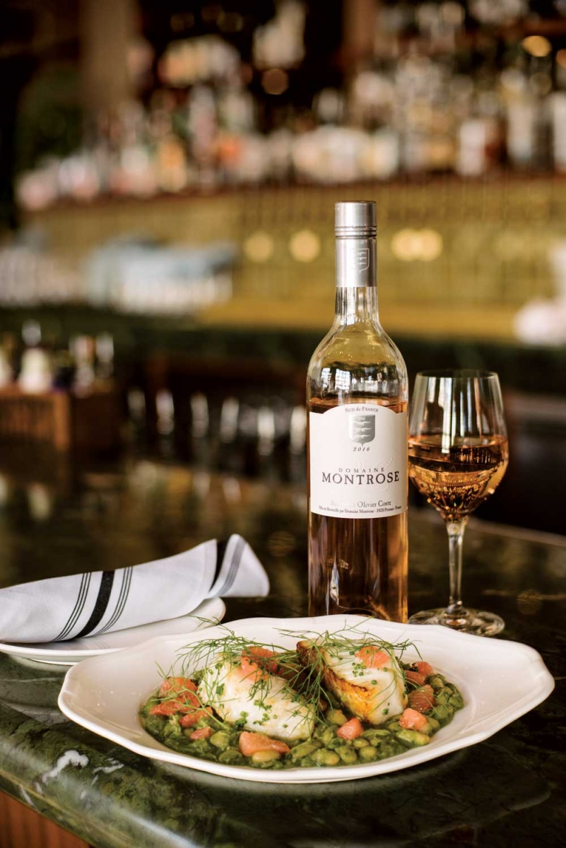 Domaine Montrose rosé paired with the wood-roasted ling cod dish at Bridgette Bar.