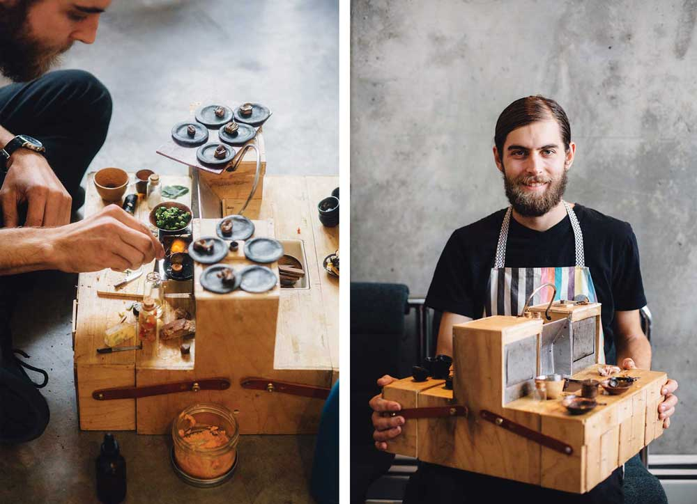 Tom Brown cooks on this functional miniature kitchen.