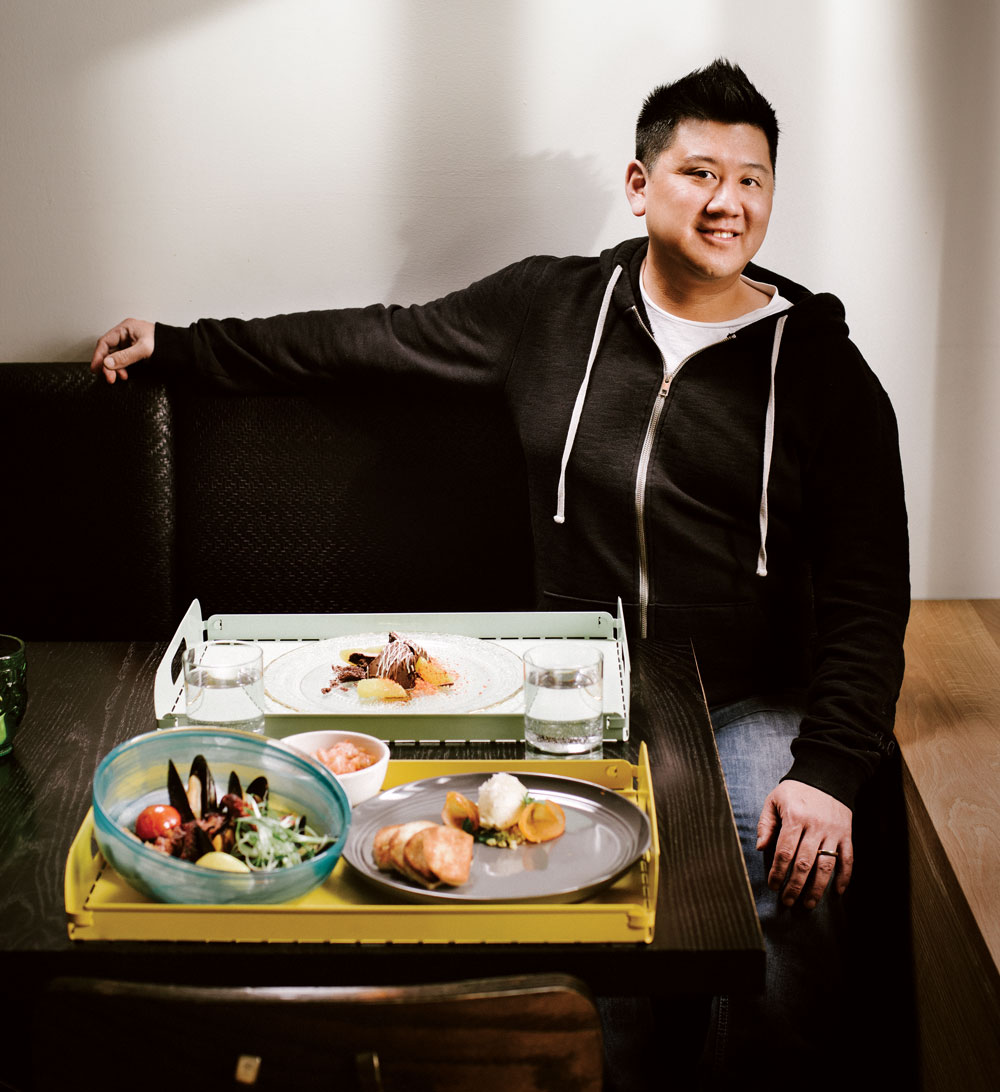Chef Roy Oh with selections from Anju's menu.