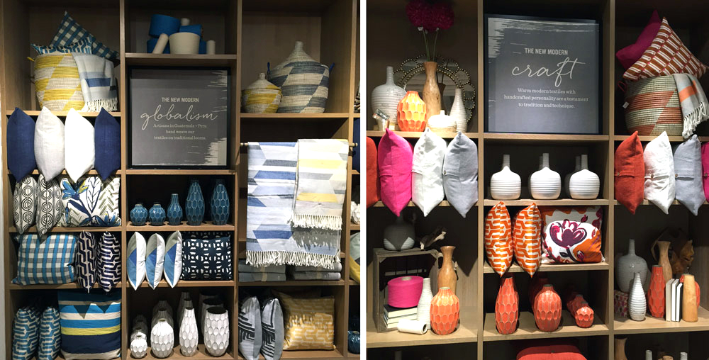 Like other West Elm stores, the Calgary location has curated sections. Favourite products are in stock year round, but new products are also introduced each season. For fall, you'll find warm colours and with pops of pink and orange as well as blues. White is always mixed into West Elm collections.